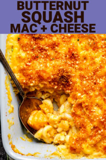 close up of butternut squash mac and cheese with text overlay