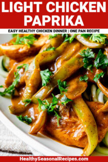 close up of chicken paprika with text overlay