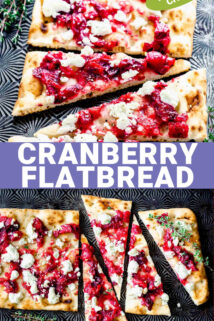 cut cranberry flatbread with text