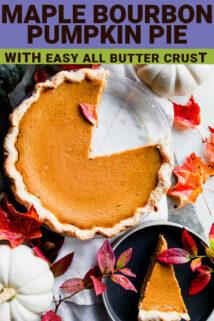 maple bourbon pumpkin pie with thext