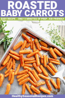 SHEET PAN WITH ROASTED BABY CARROTS WITH TEXT