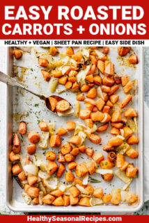 roasted carrots with onions with text overlay