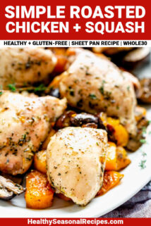 chicken with squash on a platter close up with text