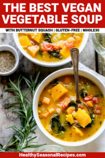 close up of vegan vegetable soup with text overlay