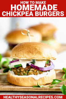 chickpea burger on a bun with sauce with text