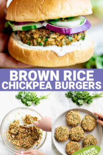 photo collage of chickpea burger with text