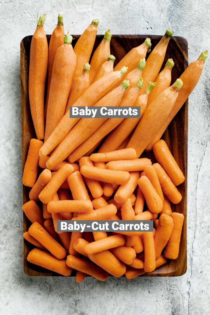 baby carrots vs baby cut carrots a plate with both with labels