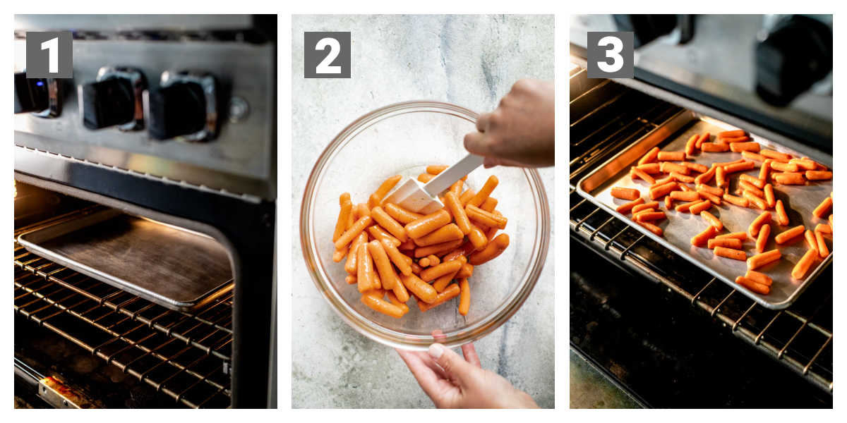 steps for preparing roasted baby carrots with numbers