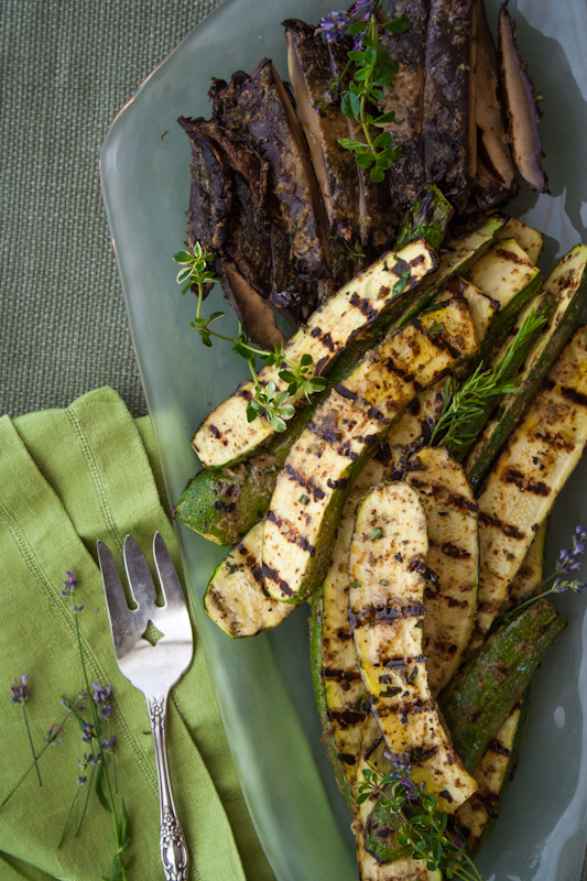 grilled zucchini and portobellos with mustard and herbs