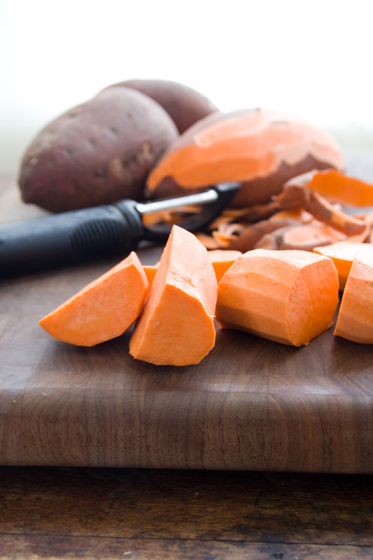sweet potatoes for soup with peanuts