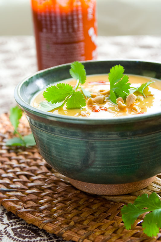 Healthy and delicious sweet potato soup recipe with peanuts and coconut. Gluten-free and dairy free.