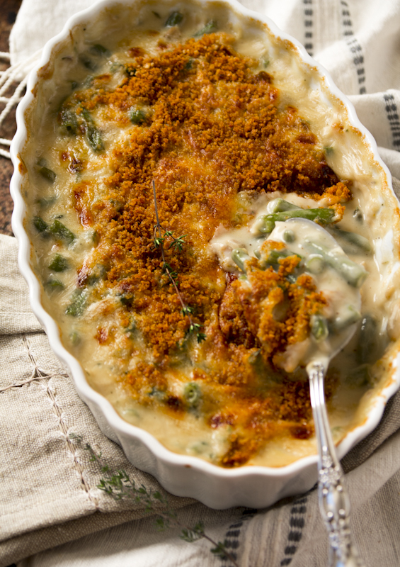 Cheddar Green Bean Casserole. Perfect for Thanksgiving! It is so yummy with the cheese added in and made entirely from scratch! Healthy Seasonal Recipes | Katie Webster