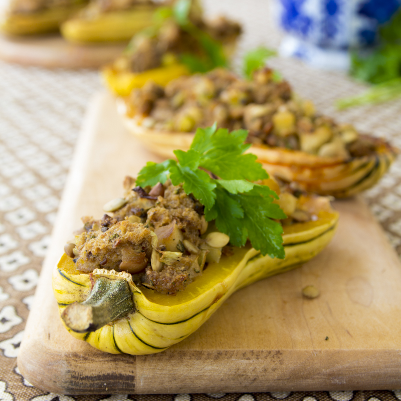 delicata squash with thanksgiving stuffing
