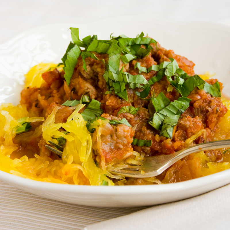spaghetti squash with turkey sausage ragout