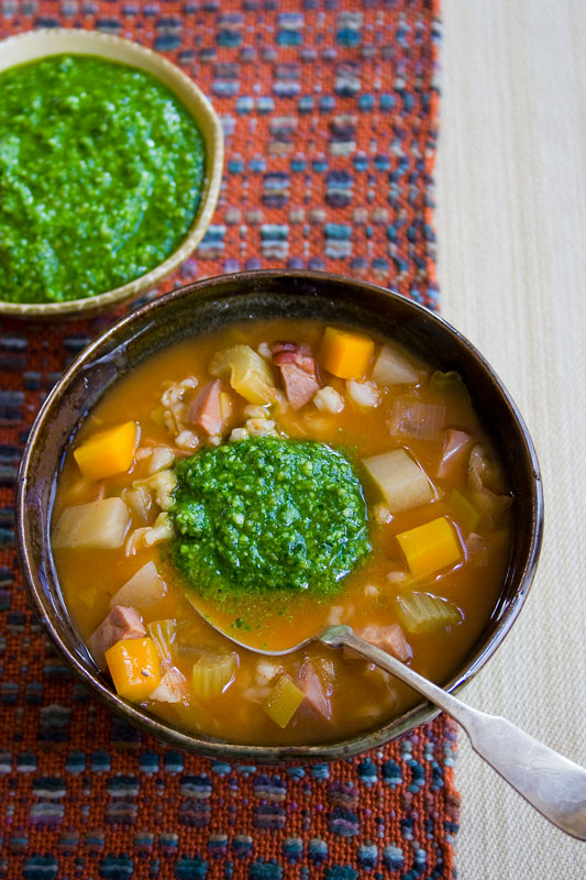 A bowl of with Soup and Pesto