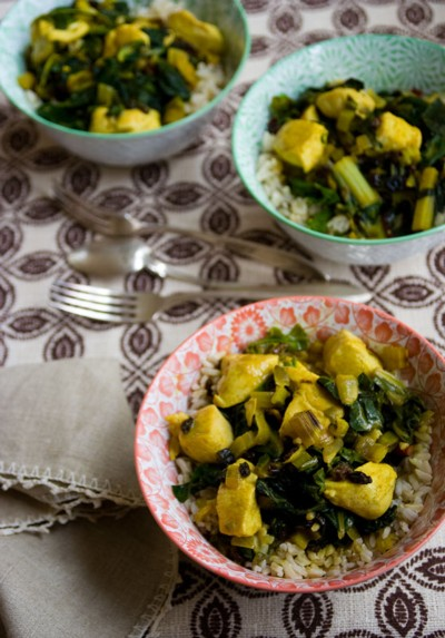 chicken and chard with curry