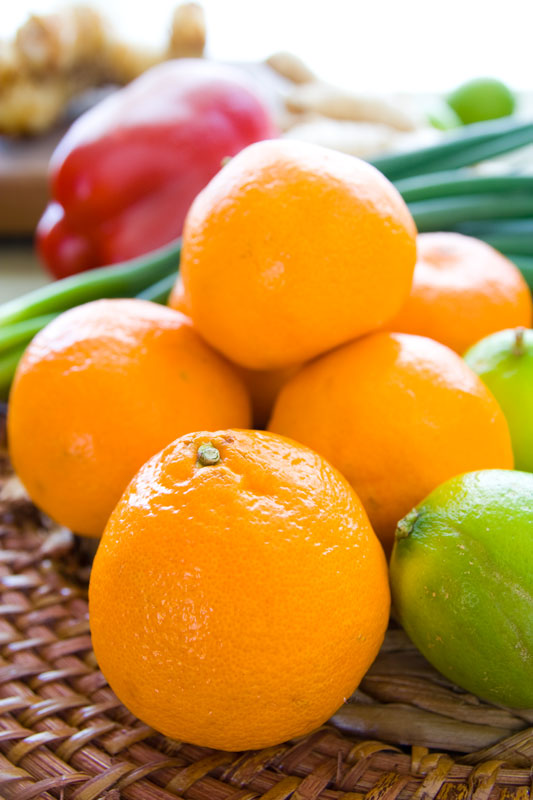 tangerines, lime, scallion and red pepper