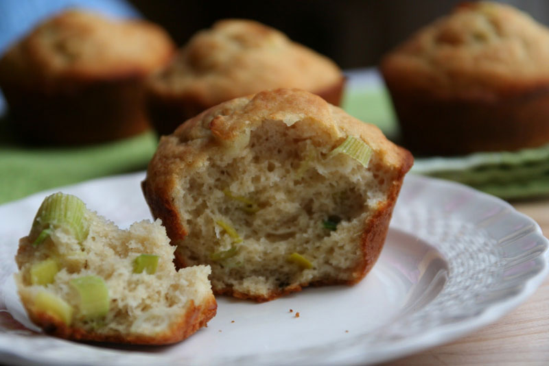 how to clean a leek and a recipe for leek and parmesan muffins