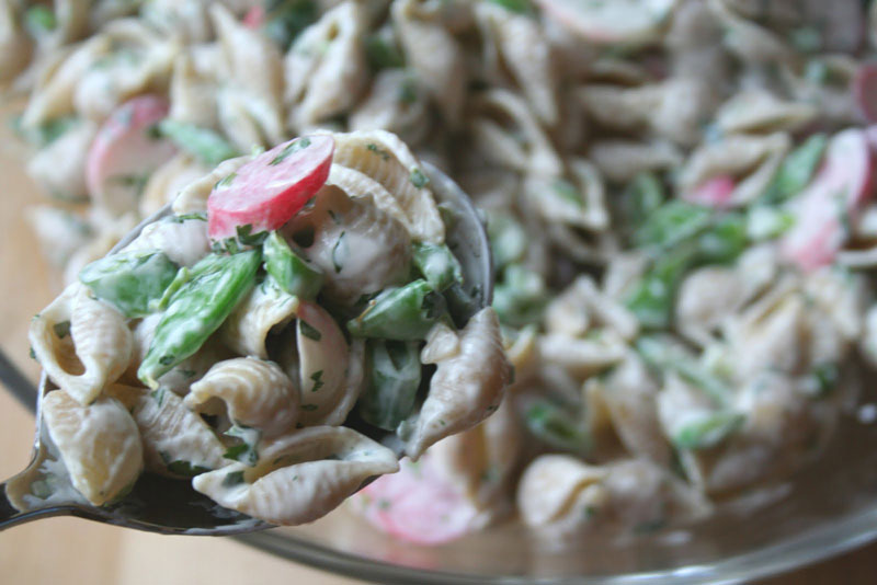 Creamy Pasta Salad with Snap Peas, Radishes and Scapes - Healthy ...