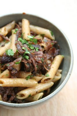 braised beef with penne marjoram and mushrooms