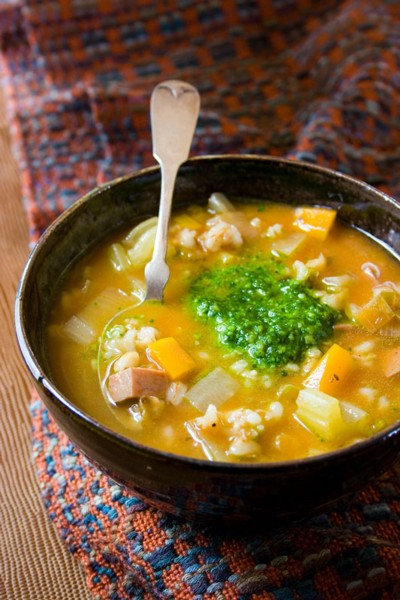 slow cooker barley soup with spinach pistou