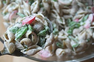 Creamy Pasta Salad with Snap Peas, Radishes and Scapes