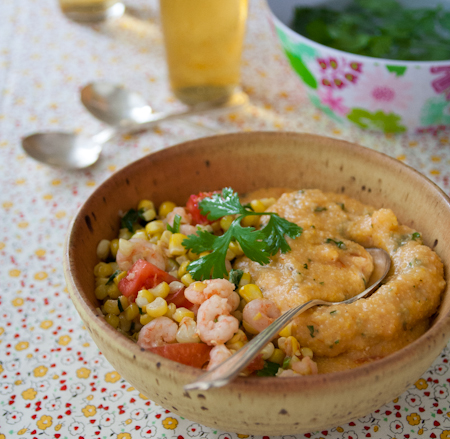 Shrimp-and-corn-with-cheese-grits-