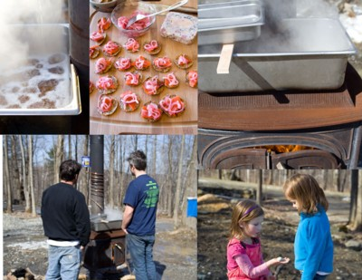 backyard sugaring and maple pickled onions served with terrine and smoked salmon canapes