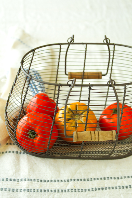 heirloom tomatoes in a basket